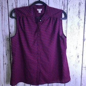J. CREW Button Up Red Blue Cherry Print Sleevless